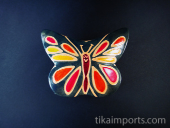 Butterfly Box handmade in India from natural, painted leather