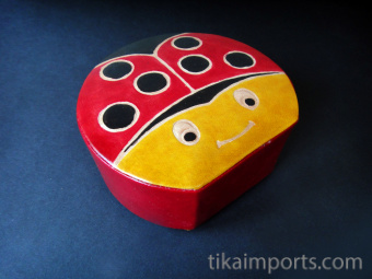 Butterfly Bank handmade in India from natural, painted leather