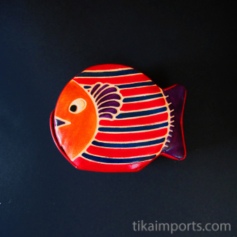Fish Bank handmade in India from natural, painted leather
