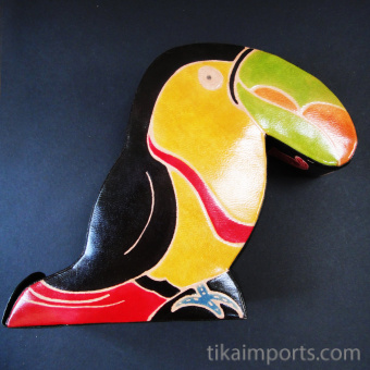 Toucan coin bank handmade in India from natural, painted leather