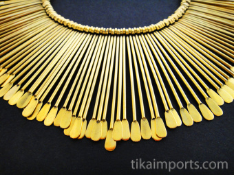 Sun Ray Necklace with graduated brass rods on black cotton cord