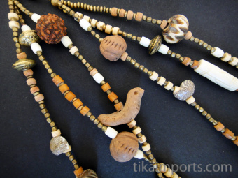 natural treasures multistrand necklace featuring an assortment of beads in a variety of natural materials