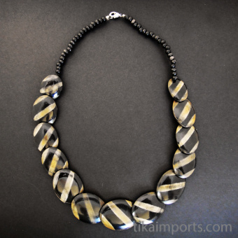 sleek and simple Zebra Stripe Necklace with horn beads