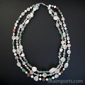 Tumbled Crystal Multistrand Necklace featuring an assortment of gemstones
