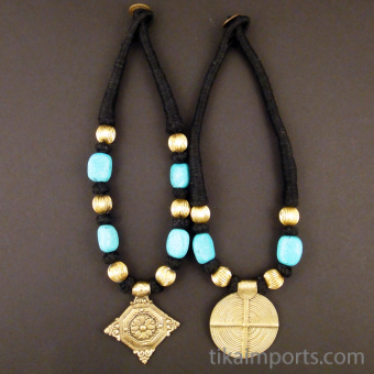 Naga Style Black & Brass Necklace available in Diamond or Round
