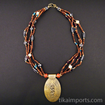 Spice Road multistrand beaded necklace with brass pendant