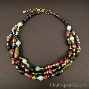 Iced Berry multistrand beaded necklace with adjustable chain in back
