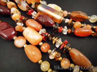 Solar Flair multistrand beaded necklace with adjustable chain in back