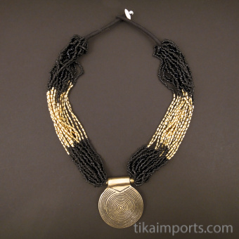 Beaded multistrand Naga style necklace ~ Black