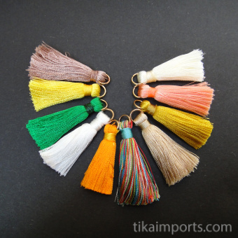 Tiny Tassels with brass jump ring, available in packs of 10