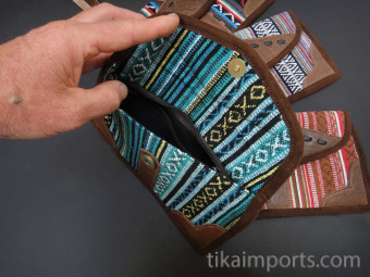 Beautifully handwoven cotton and leather clutch purses with removable wrist strap - available in 3 great styles