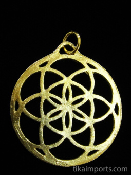 brass pendant with Seed of Life design from Sacred Geometry Tradition