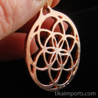 copper pendant with Seed of Life design from Sacred Geometry Tradition