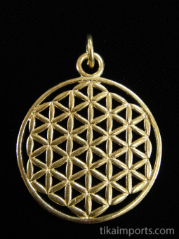 brass pendant with Flower of Life design from Sacred Geometry Tradition