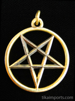 brass Pentacle pendant, cosnidered a magical talisman in many ancient traditions