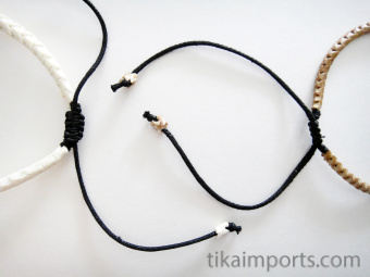 Adjustable Thin Snake Vertebrae Bracelet with black dye, tan stain or natural white finish