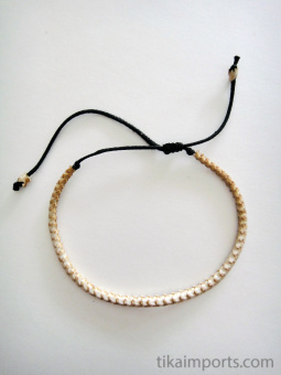 Adjustable Thin Snake Vertebrae Bracelet with light stain or natural white finish
