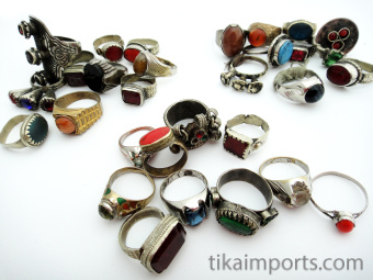 showing three separate assortments of ten vintage Tribal Gypsy rings from Afghanistan