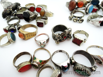 Assortment of 10 vintage Tribal Gypsy rings from Afghanistan