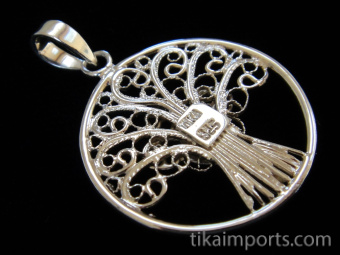 Tree of Life, hand fabricated sterling silver pendant, reverse