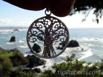 Tree of Life, hand fabricated sterling silver pendant, showing delicate filagree work