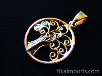 Simple Tree of Life, hand fabricated copper pendant