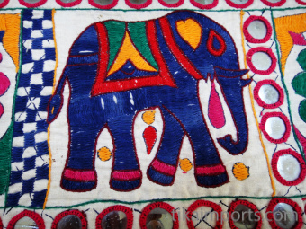 Vintage hand-embroidered Toran wall decoration from Gujarat, India, detail
