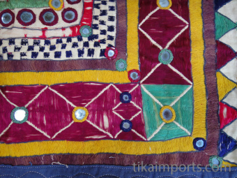 Vintage hand-embroidered Toran wall decoration from Gujarat, India