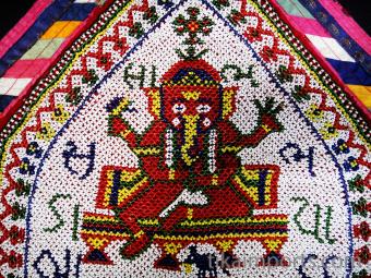 Vintage hand-beaded Toran wall decoration from Gujarat, India