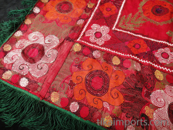 back of Traditional embroidered Saye Gosha textile from Central Asia