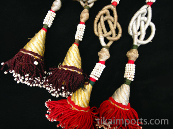 Double Tassle Set from Afghanistan with metalic thread beaded embellishments