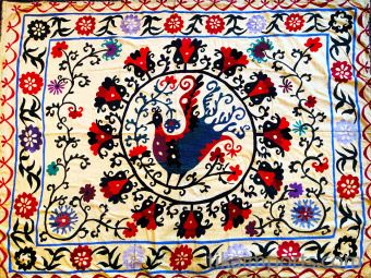 Large yellow embroidered textile from the Uzbekistan region