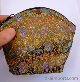 single large brocade zipper pouch