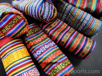 Lightly padded, zippered pouches made from traditional handwoven Bhutanese cotten fabric with cotton lining