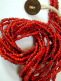 small red white-heart Venetian glass bead necklace from the 1900's