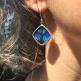 Blue Flash (Ancyluris Meliboeus) Diamond Shimmerwing Earrings set in sterling silver