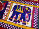 Vintage hand-embroidered Toran wall decoration from Gujarat, India, detail showing elephant