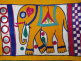 Vintage hand-embroidered Toran wall decoration from Gujarat, India, detail of elephant