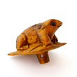 handcarved boxwood frog button