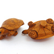 handcarved boxwood turtle button showing two pieces