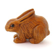 handcarved boxwood rabbit button