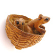 handcarved boxwood mice in basket button