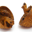 handcarved boxwood mice in basket buttons, showing two pieces