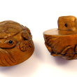 handcarved boxwood turtle buttons, showing two pieces