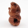 handcarved boxwood ojime bead of sumo wrestling frog