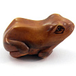 handcarved boxwood ojime bead of sitting frog
