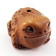 handcarved boxwood ojime bead of bullfrog