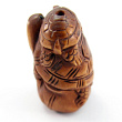 handcarved boxwood ojime bead of two turtles