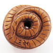 handcarved boxwood ojime bead of snake