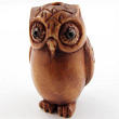 handcarved boxwood ojime bead of owl